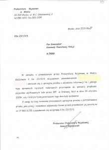 Pismo do KKP w Stalowej Woli