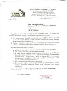 Skan wniosku do KPP w Poddębicach