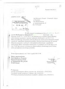 Pismo Straży Miejskiej w Poznaniu z dnia 8 sierpnia 2012 r., sygn. SPMP.K I/4220-330/12.