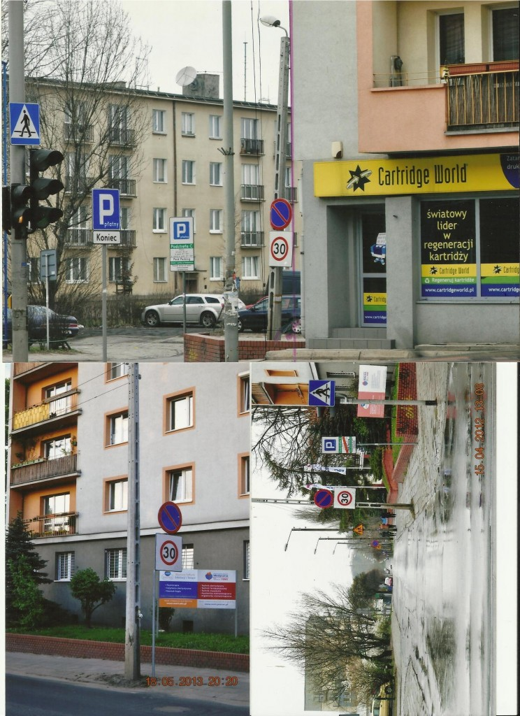 Znaki drogowe na ul. Janickiego w Poznaniu